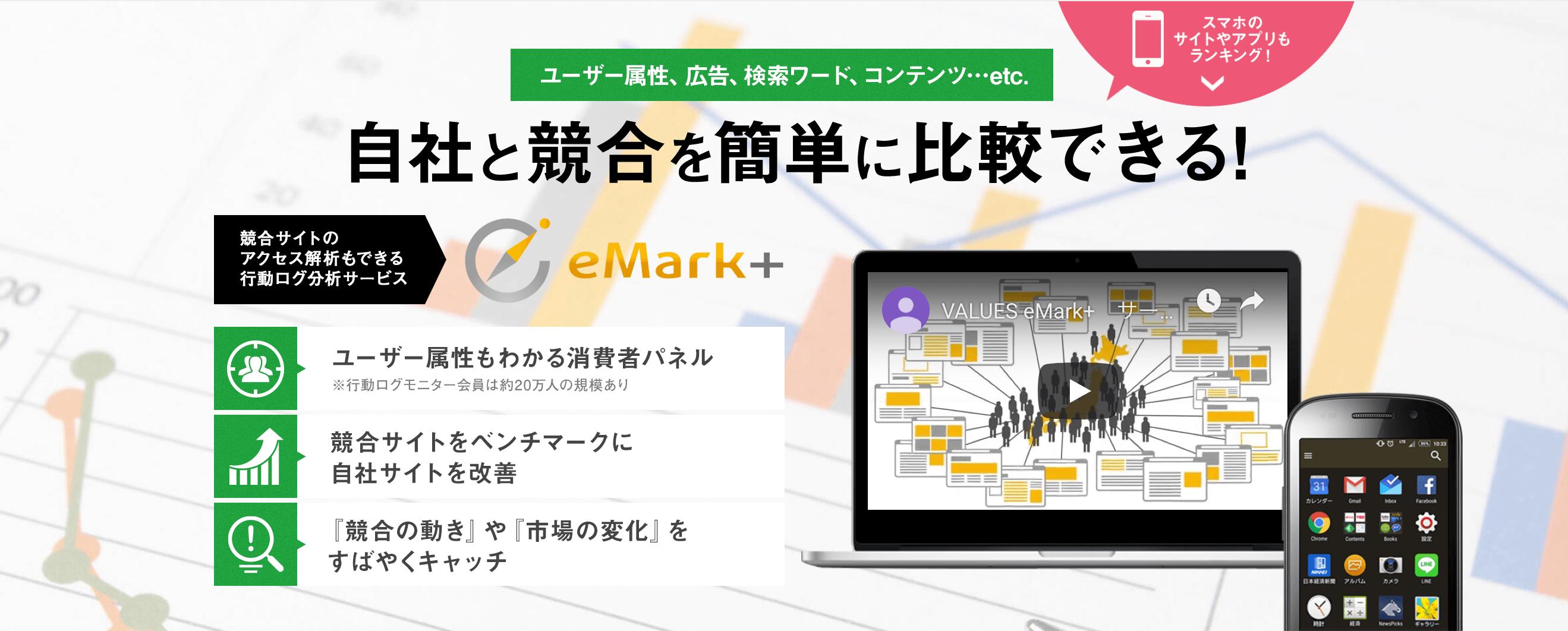 競合サイトの流入経路を分析するツール「eMark+」