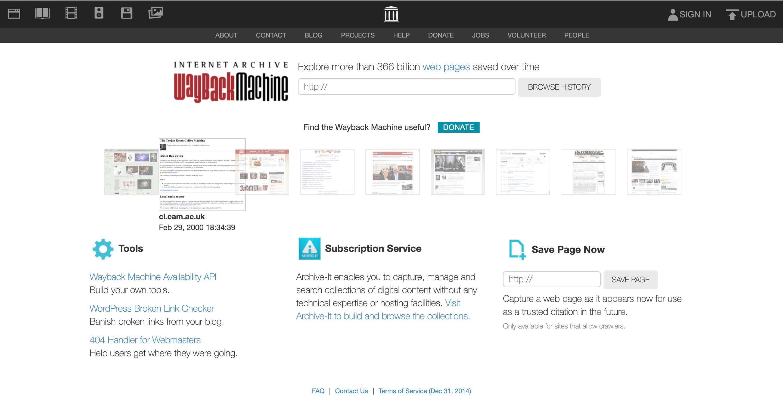 その他の競合サイトを分析するツール「Wayback Machine」